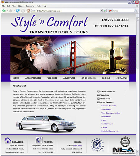 Provides 24/7 professional chauffeured limousine transportation for all needs and special occasions throughout Northern California.